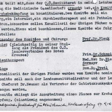 Gründung Komitee Zur Krebsbekämpfung 1957 Gemeinsam Mit OÖ Sanitätsrat